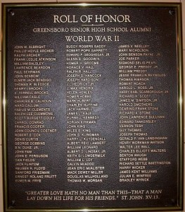 Memorial Plaque for Greensboro Students