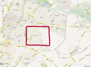 map Sittard - border of Germany